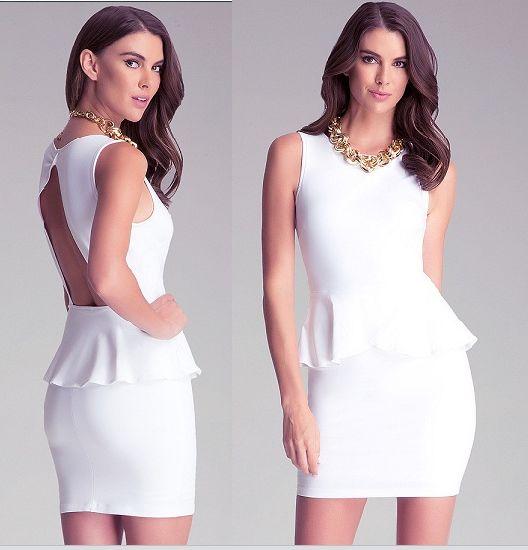 en pies imágenes de numerosos en variedad sitio oficial Las mujeres Backless OEM elegante vestido blanco vestido de mujer de la  Oficina Falbala