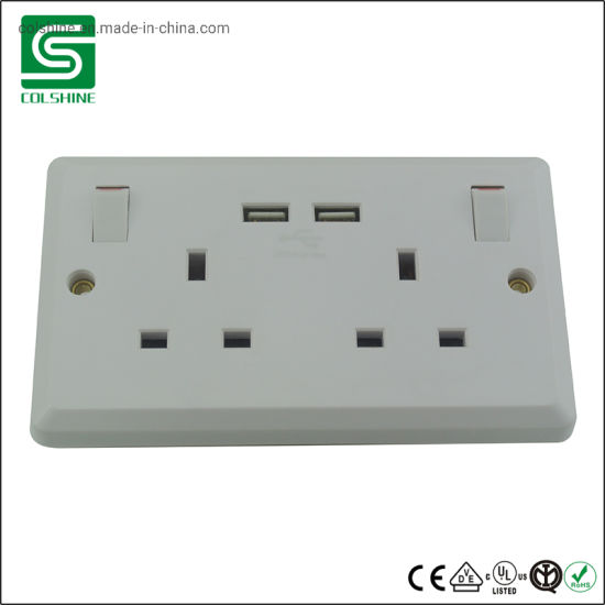 USB Double Socket Switched 2 Gang prise murale 13 A avec 2 USB Prise Ports-Blanc