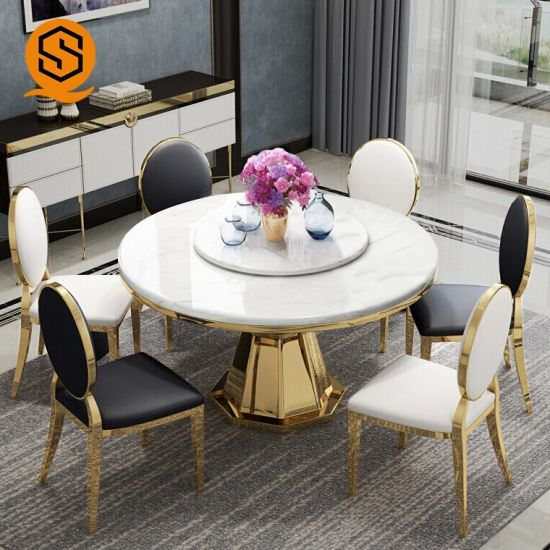 Chine Taille Personnalisee Marbre Table A Manger Ronde Table A