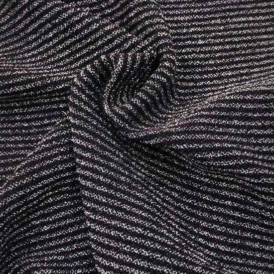 """Negro con tejido elástico de encaje de fiesta de lámina de plata material de vestir Moda 58/"""""""