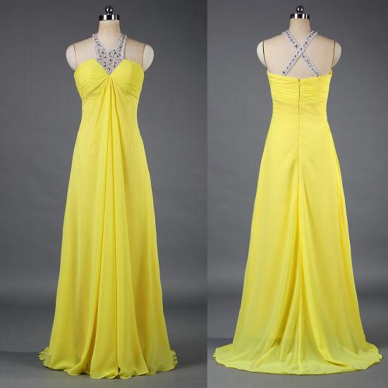 Novo Estilo De Longo Chiffon Halter Noite Vestidos Vestido Amarelo E091