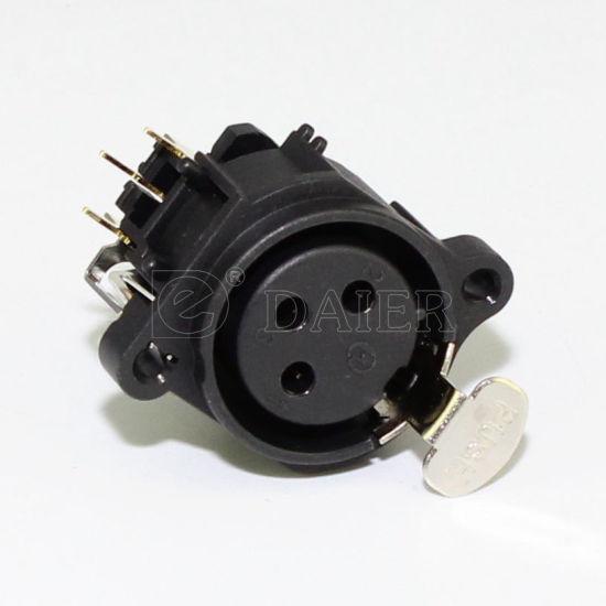 Prise XLR Femelle Pin 3 droite avec bouton poussoir vis THT 1 Pcs