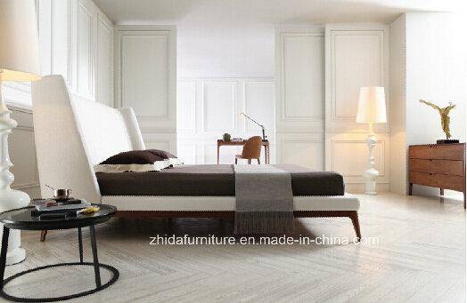 Chambre à coucher Mobilier de style moderne Tissu blanc lit (MB1203)