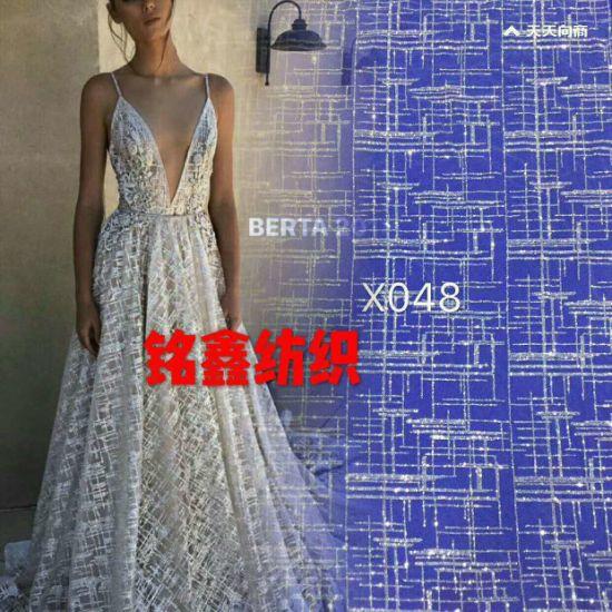 China Bordados Sequin Moda Lace Vestido Brilhante Cintilante