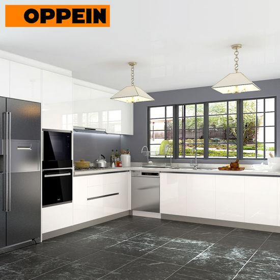 Il progetto australiano di idee di rinnovamento della cucina Shinny gli  armadietti moderni bianchi della cucina (OP18-HPL03)