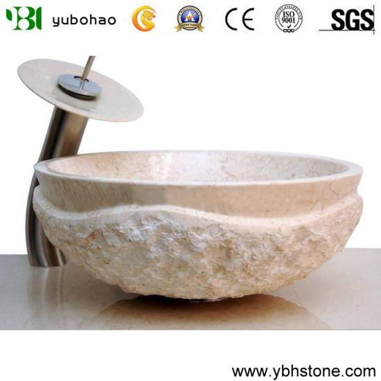Chine Lavabo en marbre travertin Beige personnalisés ...
