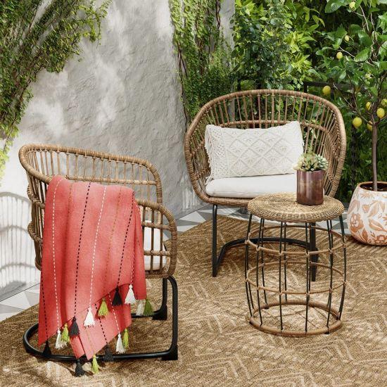 3pc poly rotin Bistro Set-meubles de jardin pour extérieur//jardin//patio