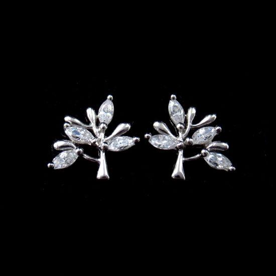 circonia cúbica Anillo de corona Pendientes de plata esterlina