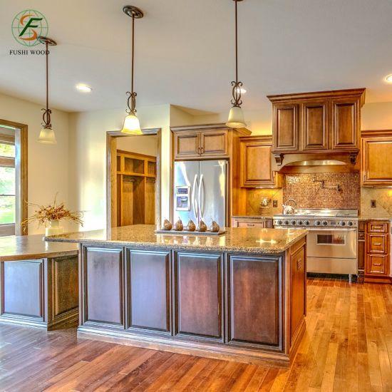 Muebles de cocina americana de arce de madera sólida mueble de cocina