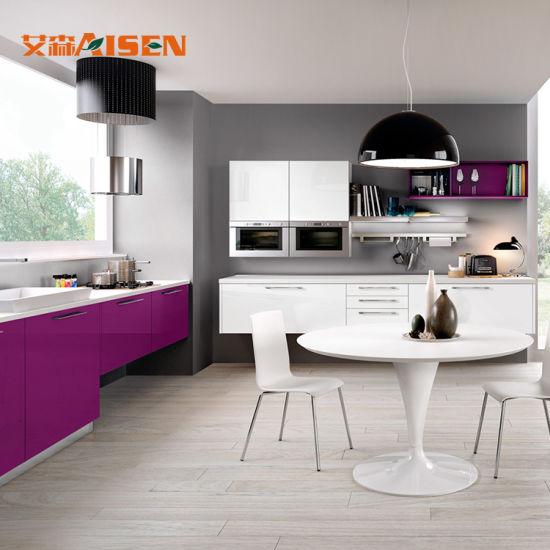 Disegni semplici Moderne degli armadi da cucina di cucina di colore della  vernice della parete della cucina