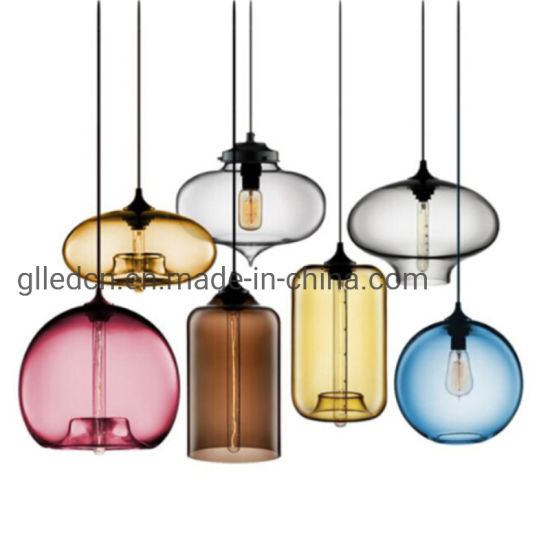 Nordic Fancy Vintage lustre industriel Poignée de commande de la lumière avec verre clair Accueil de l'éclairage Lampe LED moderne