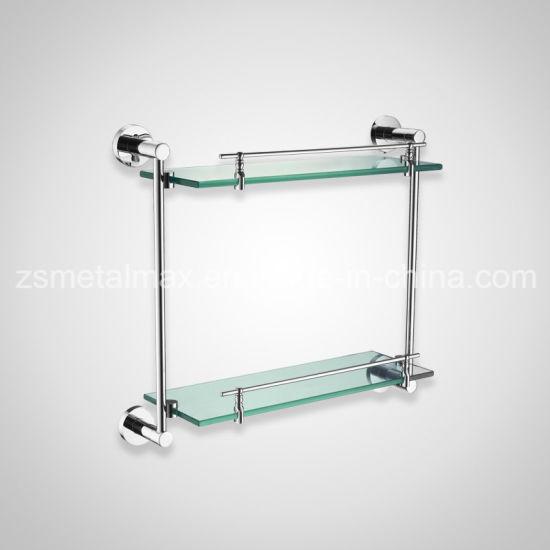 Estante de ba/ño de pared de cristal con acabado cromado y estante tama/ño a elegir