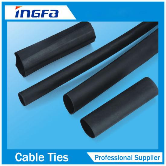 Adhesivo de pared doble Φ50mm Forrado 3:1 Negro Cable de manga Calor Shrink Tubo X 1 M