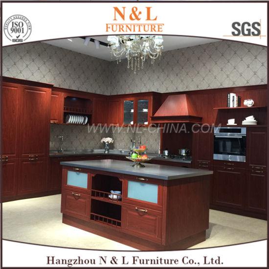 N&L de acero inoxidable de color madera mueble cocina exterior