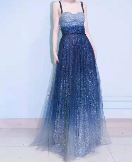 China Nuevo Diseño De Vestido Azul De La Mujer Elegante