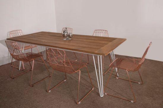 при планировании современными крутыми металлические штыри из тикового дерева обеденный стол для использования вне помещений
