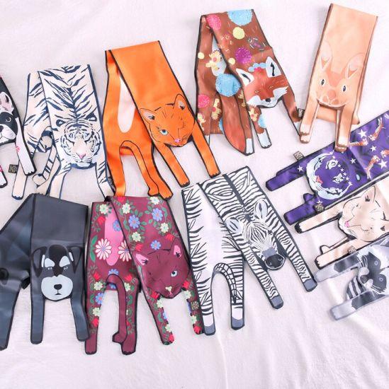 Zapatos 2018 mejor nuevos productos para Comercio al por mayor de los animales 3D impresos pañuelos de seda de  Impresión Digital China Pañuelo de seda Bolsas para mujer.
