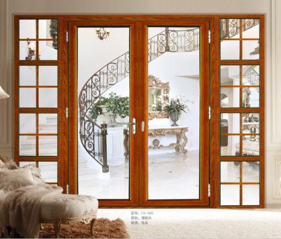 двойной закаленное стекло алюминий французской двери для входа