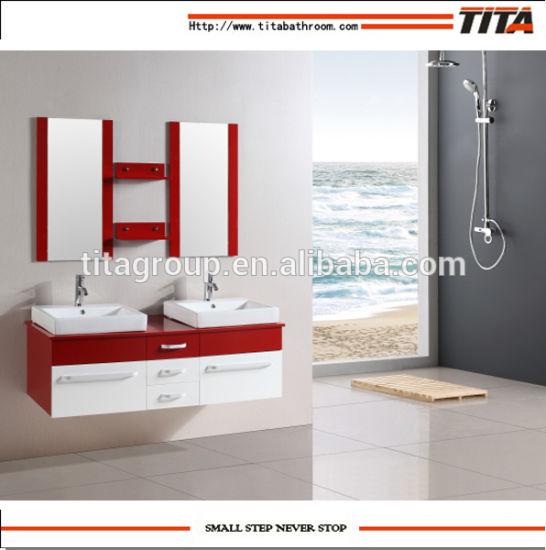 Cuarto de baño de la membrana de PVC de armario de espejos de pared con  cristal templado Top