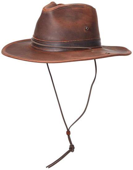 professionnel pas cher acheter réel Commerce de gros Custom unisexe cow-boy de Panama en cuir marron chapeau  avec chaîne de caractères
