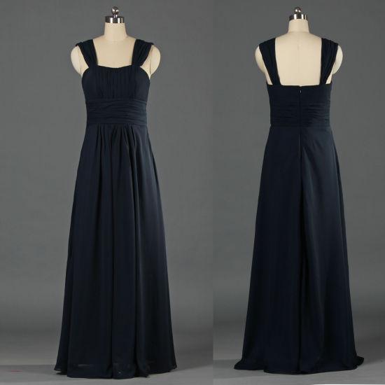 Bouchon De Modeste Manches Mousseline De Soie Bleu Marine Plus Size Demoiselle D Honneur Robes Mariage Robe Du Soir Pour Les Femmes Fille 2019