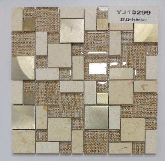 Pietra della miscela e mosaico di alluminio di vetro per la cucina  Backsplash