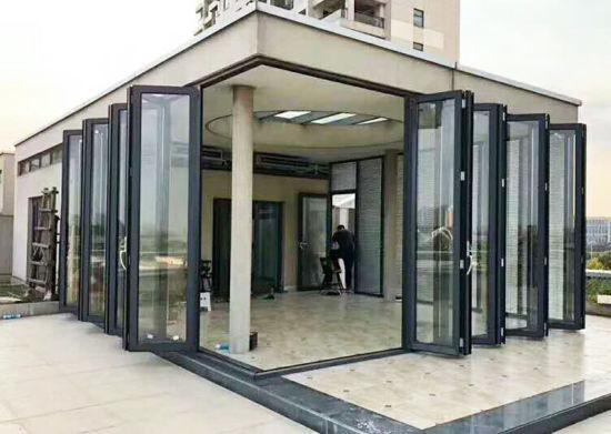 строительные материалы нестандартных французский дом алюминиевых Bi складная закаленное двойные стекла окон и дверей Bi сложить скользящую патио