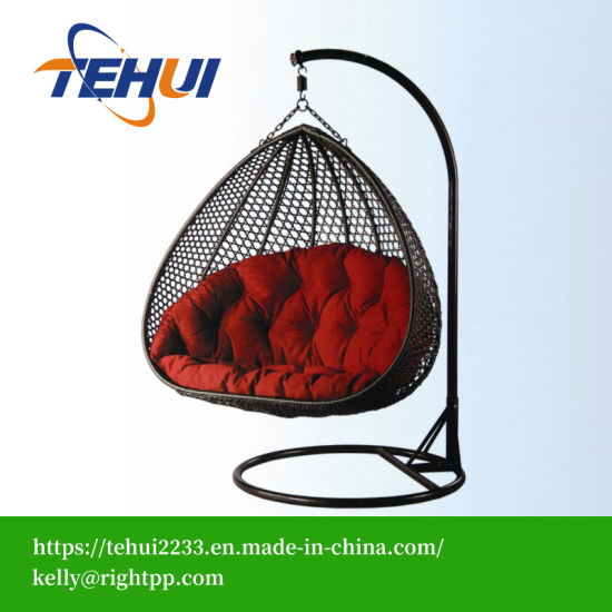 º17045cuerda al aire libre de rattan y mimbre Muebles de jardín forma de huevo colgando silla columpio