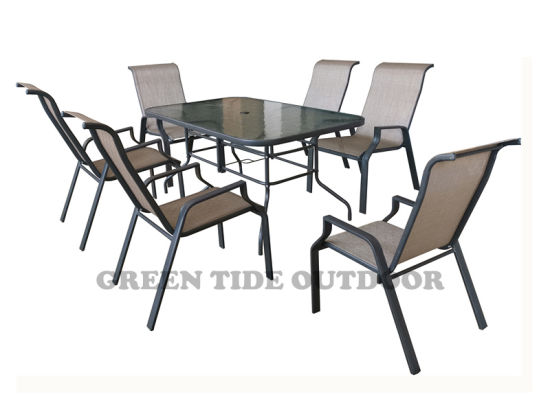China Muebles de Patio de Comidas Textilene Silla para el