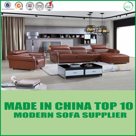 China American Modern Brown Italian Leather Sectional Sofa ...