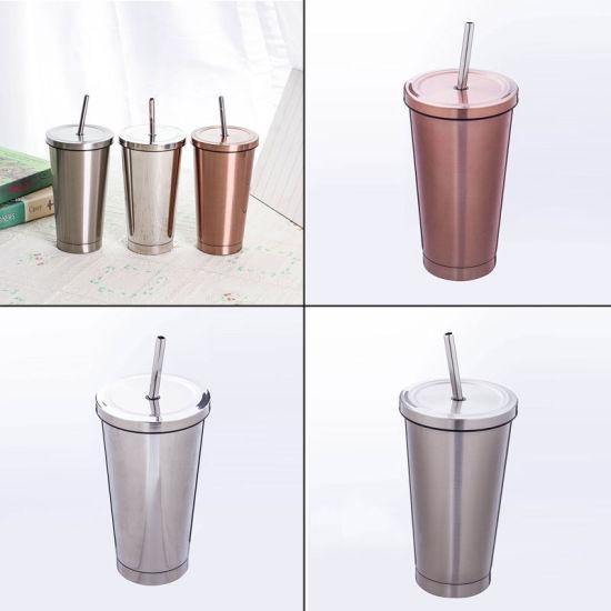 tasse à café en acier inoxydable avec couvercle et paille