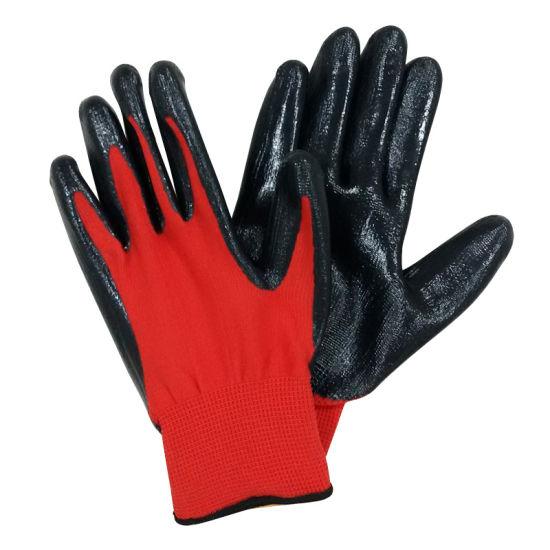 Guantes de agarre revestida Negro PU Seguridad Guantes de trabajo mecánico de ingeniería de jardinería