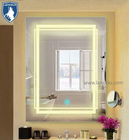 Hotel Los espejos de pared LED Espejos de baño sin cerco iluminado cuarto  de baño Espejo de vidrio resistente al agua con clasificación IP44.