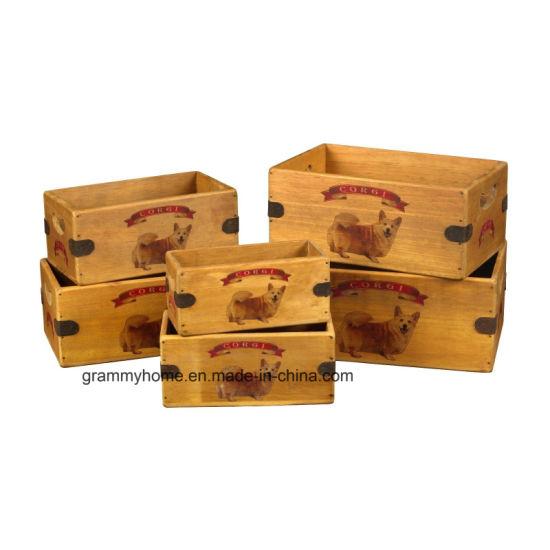 Corgi Perro Caja Vintage Perro trata Gran Regalo Caja de almacenamiento de información