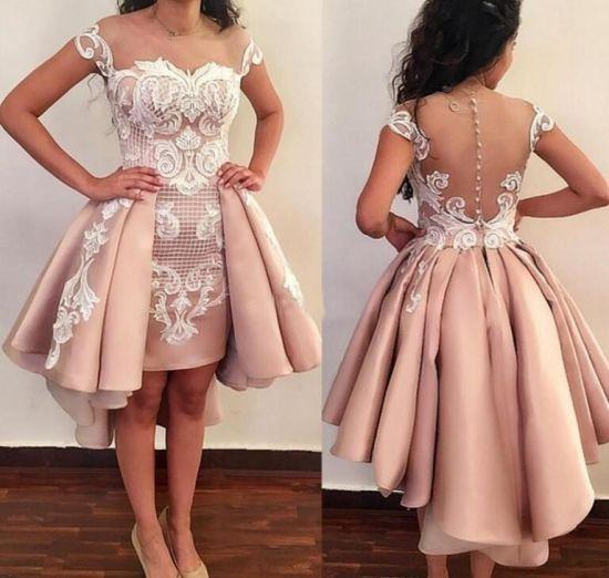 selección asombrosa venta más caliente última tecnología Cóctel de encaje vestidos de fiesta corto de raso vestido de noche  Homecoming Ld15267
