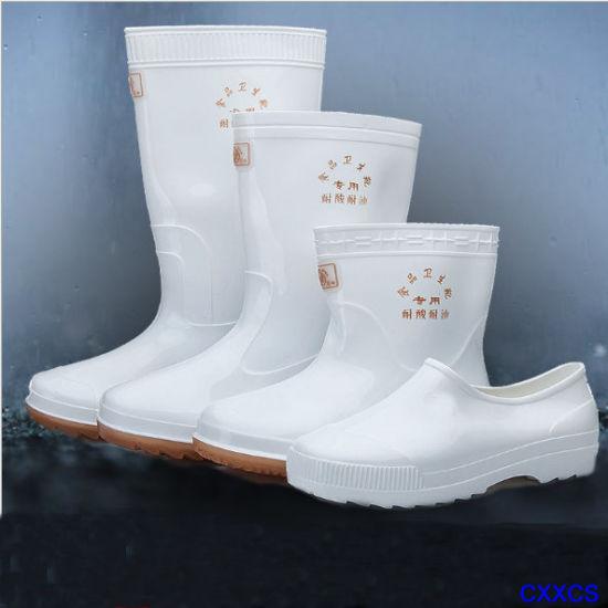 PVC Blanc Bottes de pluie de travail pour l'industrie alimentaire Stuff