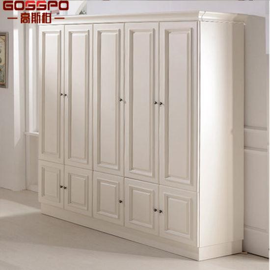 Governi di legno del guardaroba della pittura dell\'armadio bianco della  camera da letto (GSP17-001)