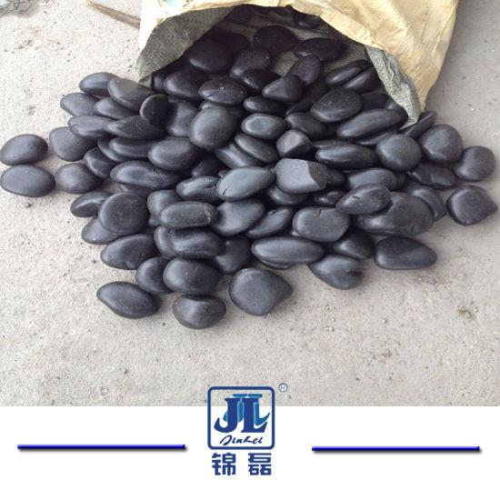 Chine Pierre naturelle de galets blanc poli noir poli pour ...