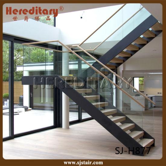 Corrimano Scale Interne Acciaio.Scale Diritte Di Legno D Acciaio Interne Di Figura Di Staircase U Con Il Corrimano Di Legno