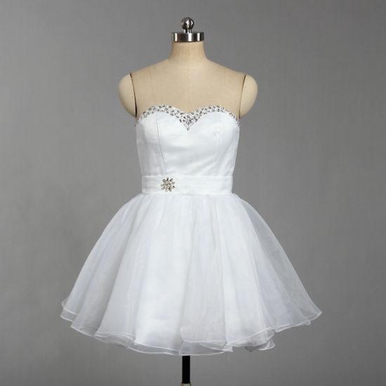 China E534 Niñas Bustier Organza Blanco Vestidos De Fiesta