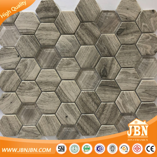 Mosaico Di Legno.Mosaico Di Vetro Montato Maglia Di Legno Di Esagono Di Disegno V645008