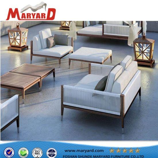 Un design moderne de luxe en bois de teck de mobilier de jardin canapé