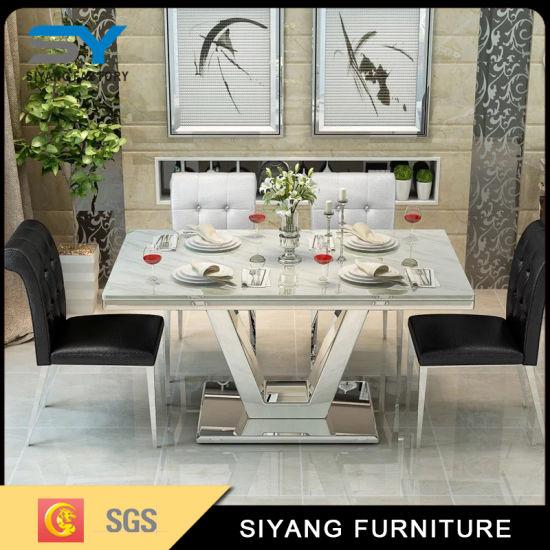 China Mobiliario de casa moderna mesa de comedor de mármol ...