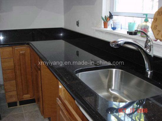 Comptoir en granite Galaxy noir pour la cuisine et salle de bains décoration