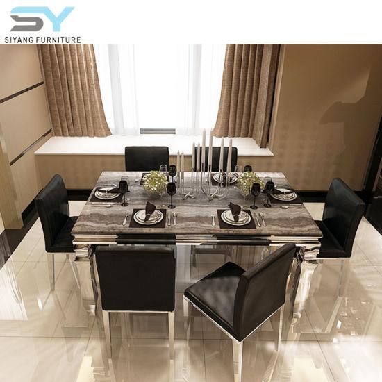 Muebles de acero inoxidable juego de comedor mesa de comedor mesa de mármol