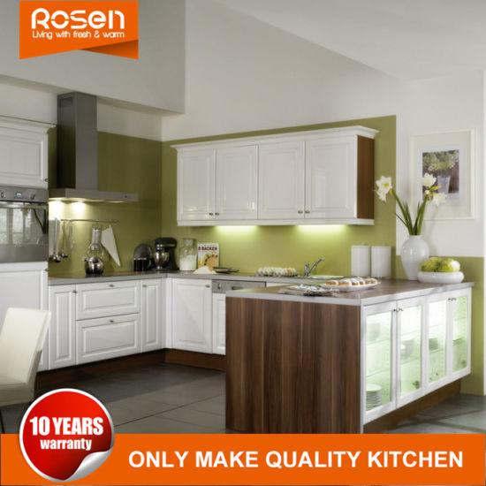 Nouveau style de feuilles de placage de bois d\'orme d\'armoires de cuisine  moderne du Cabinet