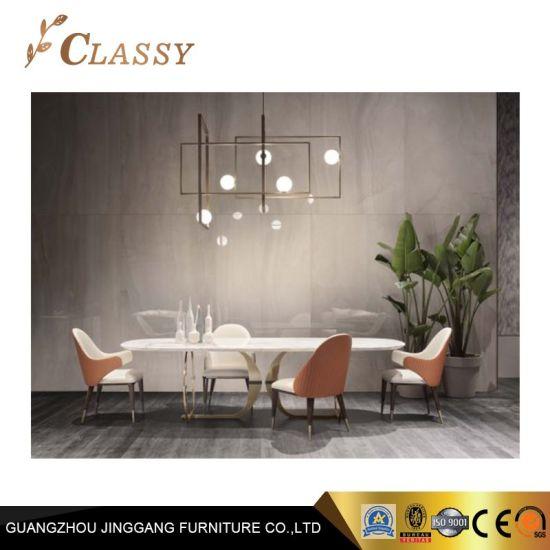Diseño exclusivo, el marco de metal muebles comedor en la parte superior  Mable mesa de comedor
