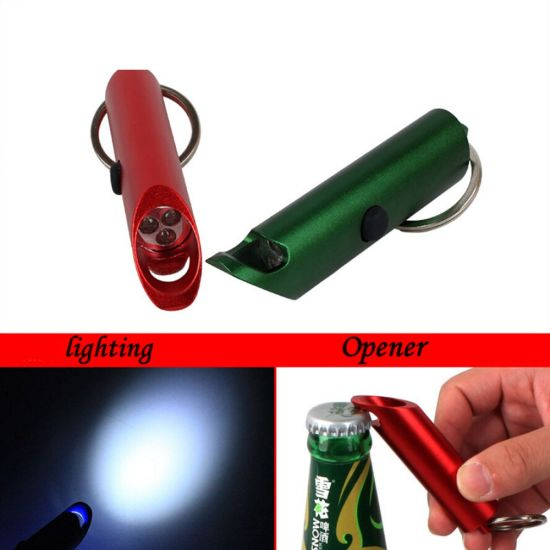 3 IN 1 GADGET BOTTLE OPENER WITH MINI LED FLASHLIGHT TORCH LIGHT AND KEYCHAIN