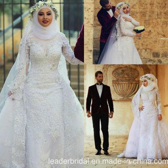 bajo costo original de costura caliente nuevo alto Puntilla de Dubai árabe musulmana de trajes de novia vestido de novia UN2042