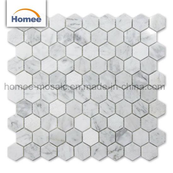 Carrara Mosa/ïque hexagonale en c/éramique Blanc brillant